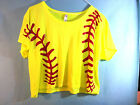 Neon Yellow Red Softball Lacing Graphic T-Shirt  Ladies Flowy Boxy Tee Women SS