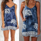 Women Elephant Print Cami Dress Floral Ethnic Casual Dresses Boho Shirt Tops