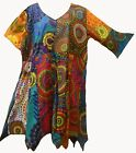 Nwt FUNKY STUFF hippy patch circle dot cotton hanky TOP TUNIC DRESS 1X Free ship