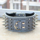 Dog Collar Grey Leather Spiked Studded Large Dog Collar Pitbull Bully Mastiff