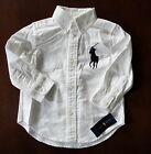 NWT Ralph Lauren Boys White Big Pony Blake Oxford Shirt Sz 5 6 or 7 NEW $45 *