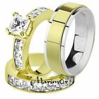 His & Her 14K G.P. Stainless Steel 3.75 Ct Bridal Ring Set & Men's Spinner Band