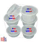 Clear Plastic Quality Containers Round Tubs w/ Lids Microwave Food Safe Takeaway