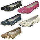 Ladies Down To Earth Flat Ballerina Shoes - Style 991