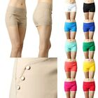 IUILE Womens Candy Color Cubic Side Studded Vintage Stretch Waist Shorts Pants