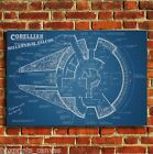 STAR WARS MILLENIUM FALCON PLAN CANVAS WALL ART PRINT PICTURE SMALL MEDIUM LARGE