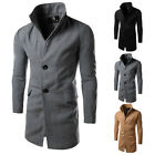 New Fashion Men's Stylish Long Jackets Single Breasted Wool Blends Trench Coats