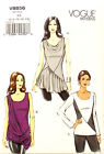 VOGUE PATTERN TOP CLOSE FIT PULLOVER 3 STYLES EASY SIZE 6-14 or 14-22 # V8856