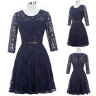 Womens LACE Vintage Bridesmaid Cocktail Party Dress Evening Celeb Short Dress