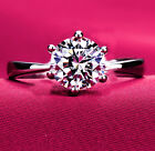 Fashion 925 Silver White Sapphire  Birthstone Engagement Wedding Ring Size 6-10