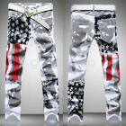 New Stylish Men's Fashion Slim-fit Jeans Pants Trouser USA American Flag Jeans