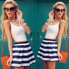 New Fashion Women Casual Sleeveless Sexy Striped Patchwork Mini Dress TXSU