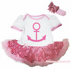 Sailor White Bodysuit Light Pink Bling Sequins Girl Baby Dress Outfit Set NB-18M