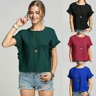 womme Casual girl Round neck t-shirt chiffon shirt shirt bat sleeve fashion