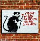 BANKSY OUT OF BED GRAFITTI CANVAS WALL ART PRINT PICTURE SMALL MEDIUM LARGE
