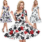 Womens Floral Vintage Dress Retro 1950s Party Cocktail Pin Up Swing Evening S~XL