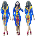 NEW Women Traditional African Dashiki Bohemia Bodycon Long Sleeve Cocktail Dress