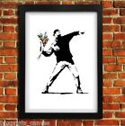 BANKSY FLOWER THROWER POSTER FRAMED WALL ART PRINT PICTURE SMALL MEDIUM LARGE