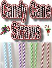 """""""CANDY CANE""""  STRAWS, Red, Blue, Green & Purple.  9"""" & 11"""" Reusable."""