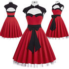 Vintage Style Retro Swing Pinup 50s 60s Bow Housewife Cocktail Party Prom Dress