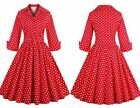 New Vintage Long Sleeve Autumn Housewife Polka Dot Rockabilly Swing Casual Dress