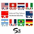 Heart Shaped National Flags Face Tattoo Waterproof Sticker Over 30 Countries