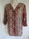 FANCY SHEER CHIFFON BLOUSE PAISLEY PRINT CURVED HEM FOLDED TAB BUTTON SLEEVES