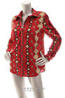 NEW RALPH LAUREN Women Long Sleeve Button Down Shirt Top Red Brown Black Beige M