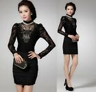 Hot  Luxurious Ladies Women Slim Lace Blouse Long Sleeve Casual Fashion Top