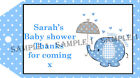 18 x Personalised Baby Shower Gift tags - Ref 02-01
