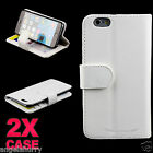 """iPhone 6 (4.7"""") Case 2 x White Premium Credit Wallet Leather Case For Apple"""