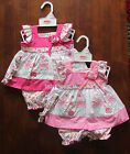 BABY GIRLS SUMMER DRESS SET PINK 3D FLOWER FRILLY DRESSES OUTFIT 0-3 3-6 6-9 MTH