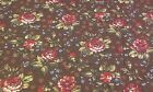 NEW-60 Inches Wide-100% Cotton Fabric-Vintage Rose Design on Chocolate Brown