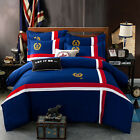 4pcs British Style Badge Embroidery Twin Queen King Size Duvet Cover Bedding Set