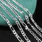 1PC Fashion Silver Chain Italy Figaro Necklace 16-30 inch 2mm Handsome Jewelry
