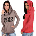 Women Long Sleeve Sweatshirt Casual Coat 'WHO CARES' Printed Hooded Pullovers