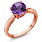 1.10 Ct Round Purple Amethyst 18K Rose Gold Plated Silver Ring