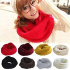 Winter Fashion Soft Wool Solid Knitted Unisex Long Wrap Neckerchief Round Scarf