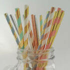 100pcs Paper Drinking Straws Foil Rose Gold Foil Silver Wedding Birthday Party