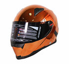 NENKI FULL FACE HELMET NK-861 CHROME ORANGE SUN SHIELD REMOVABLE LINNING