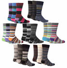 Giovanni Cassini - 24 Pack of Mens Colorful Striped Cotton Rich Crew Dress Socks