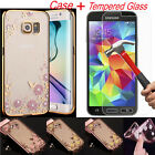 Luxury Soft Case Cover + Tempered Glass Film Screen Protector For Samsung Galaxy