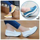 Women's Leather Casual Sport Shoes PLATFORM Walking Brand New Fitness Sneaker