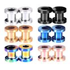 PAIR Steel Screw Fit Tunnels Ear Plugs Earlets Double Flared Gauges 12g-3/4