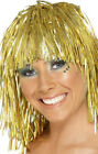 Ladies Adult 1970s Disco Cyber Tinsel Wig Fancy Funny Female Dress Up