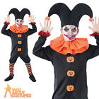 Child Evil Jester Costume Scary Clown Halloween Horror Fancy Dress Outfit New