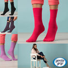 Gentle Grip - 6 Pack Womens Cute Pattern Loose Top Cotton Non Elastic Crew Socks