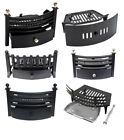 Solid FUEL SET Front Grate Black Fireside Fireplace Ash Pan Coal by INGLENOOK