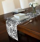 """BLACK & WHITE DAMASK TABLE RUNNER TOPPER WEDDING EVENT PARTY HOLIDAY 72"""" or 90"""""""