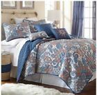 Queen King Bed Blue White Red Paisley Geometric 6 pc Quil...